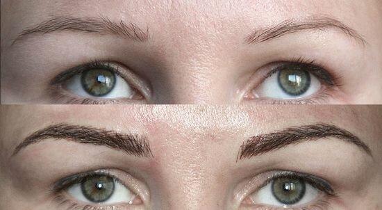 фото до и после 3Д татуажа бровей