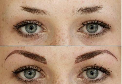 Фото до и после татуажа бровей